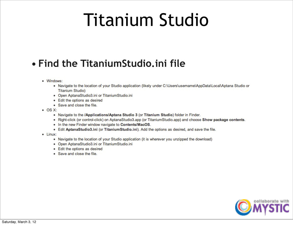 Titanium Studio • Find the TitaniumStudio.ini f...