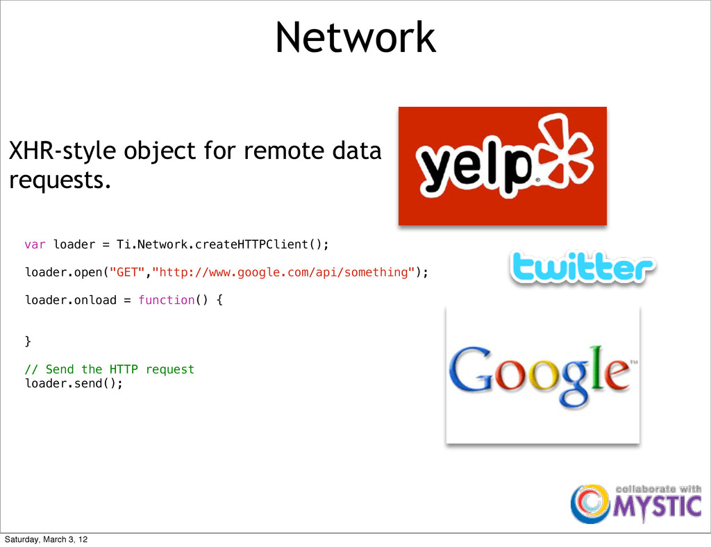 Network XHR-style object for remote data reques...