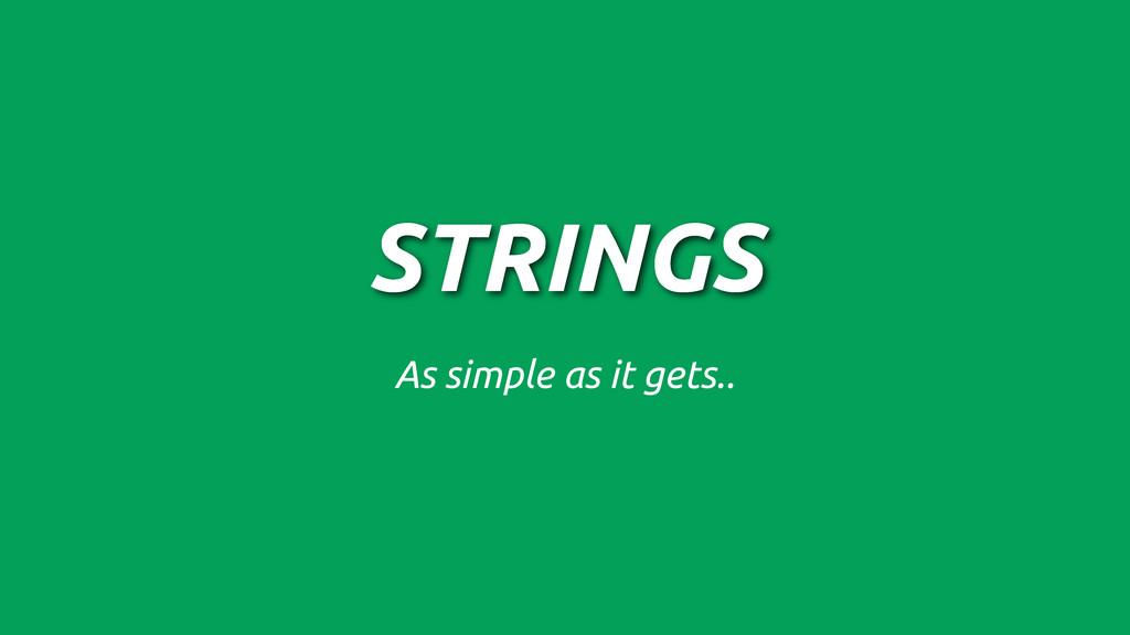 STRINGS As simple as it gets..