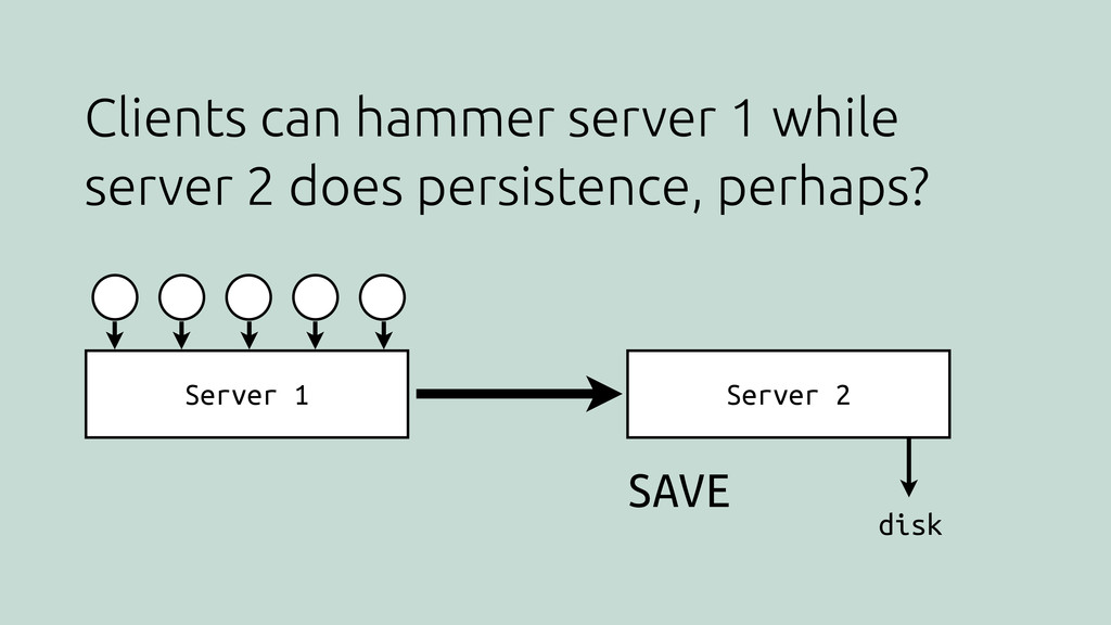 Clients can hammer server 1 while server 2 does...