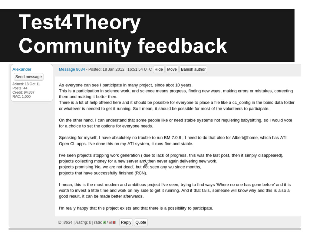 Test4Theory Community feedback