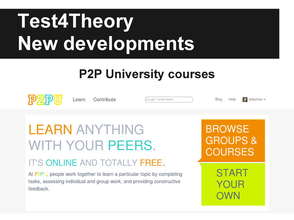 Test4Theory New developments P2P University cou...