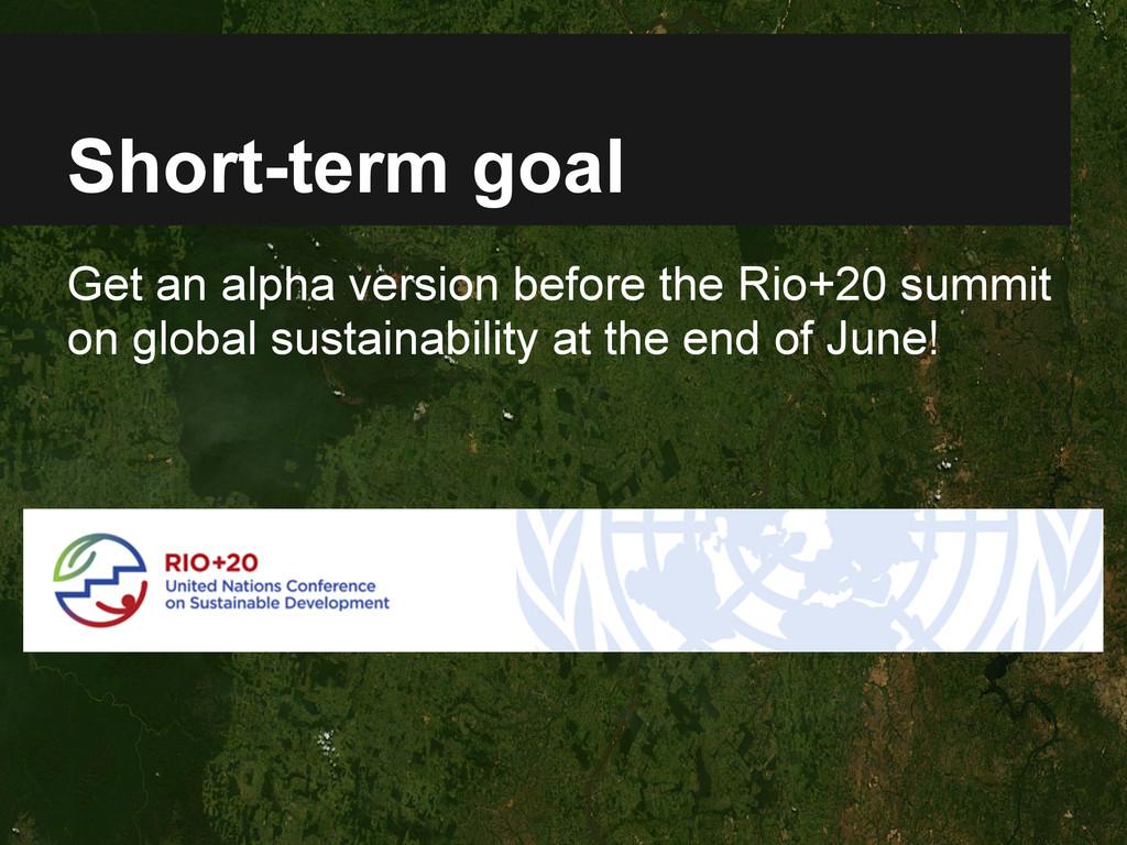 Short-term goal Get an alpha version before the...