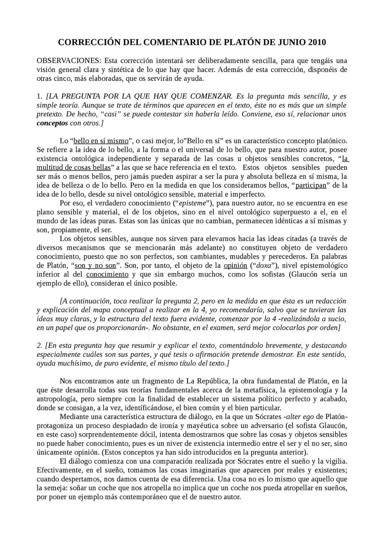 CORRECCIÓN DEL COMENTARIO DE PLATÓN DE JUNIO 20...