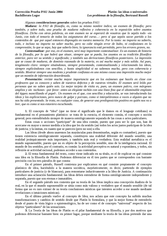 Corrección Prueba PAU Junio 2004 Platón: las id...