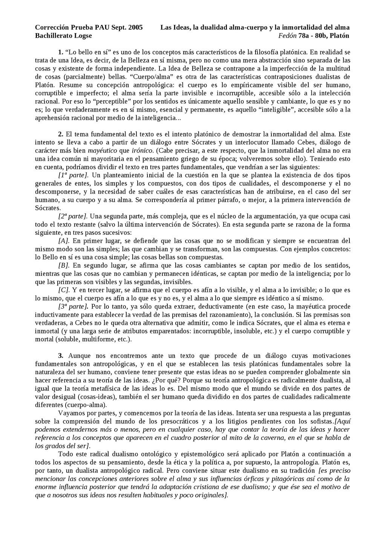 Corrección Prueba PAU Sept. 2005 Las Ideas, la ...