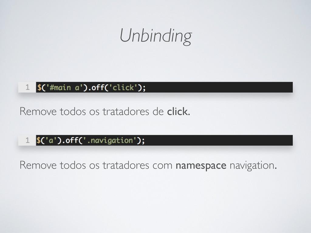 Unbinding Remove todos os tratadores de click. ...