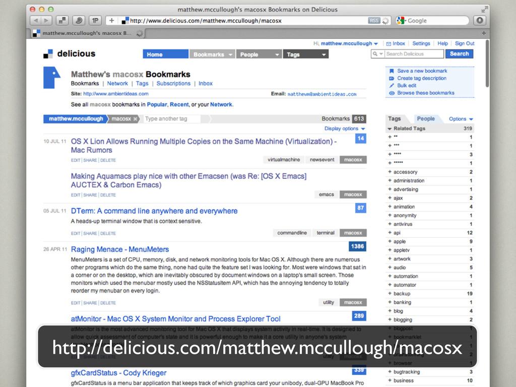 http://delicious.com/matthew.mccullough/macosx