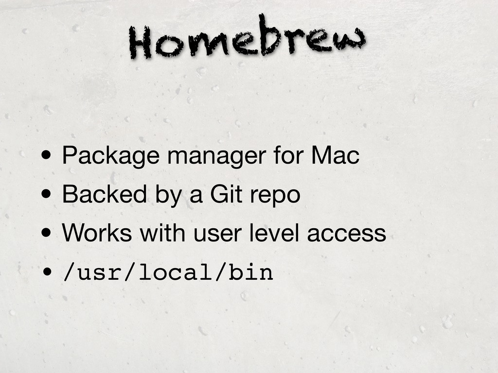 Homebrew • Package manager for Mac • Backed by ...