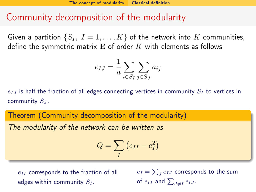 The concept of modularity Classical denition C...