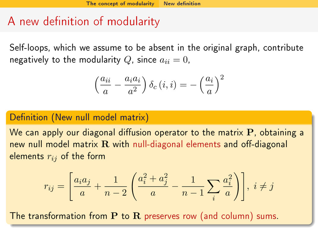 The concept of modularity New denition A new d...