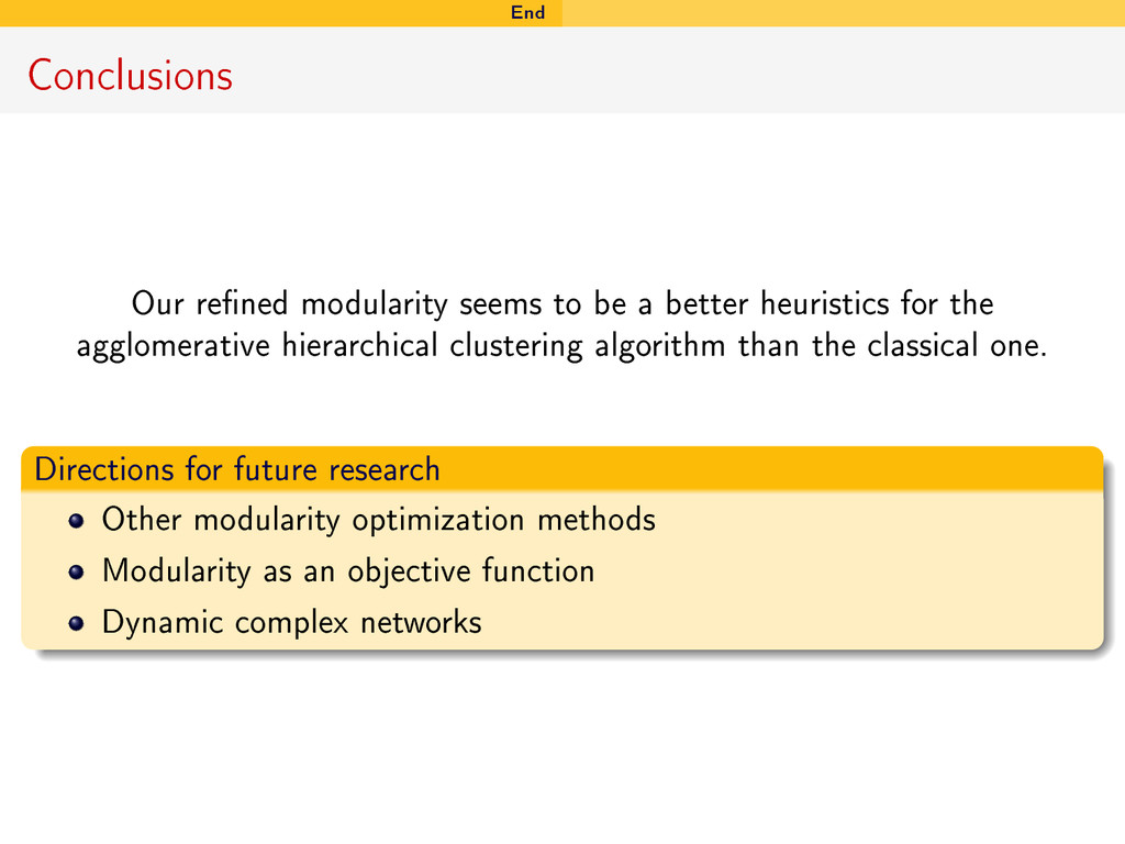 End Conclusions Our rened modularity seems to ...