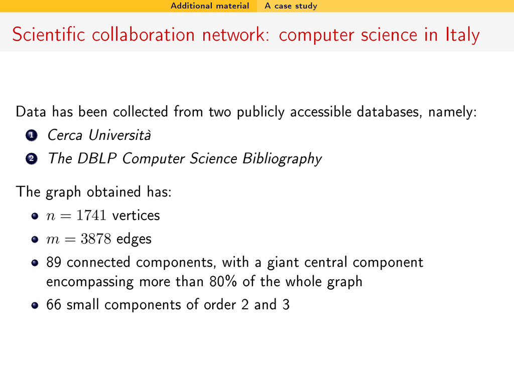 Additional material A case study Scientic coll...