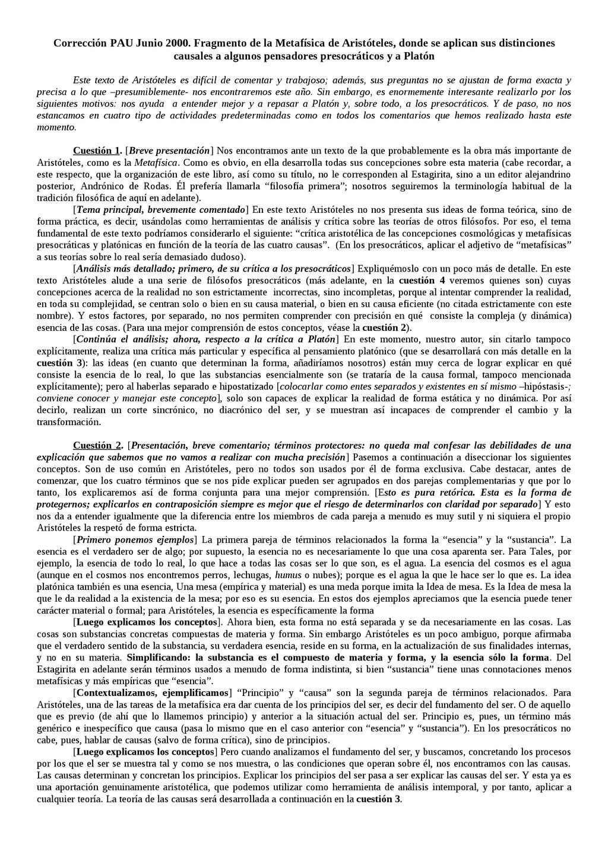 Corrección PAU Junio 2000. Fragmento de la Meta...