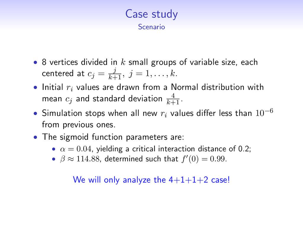 Case study Scenario • 8 vertices divided in k s...