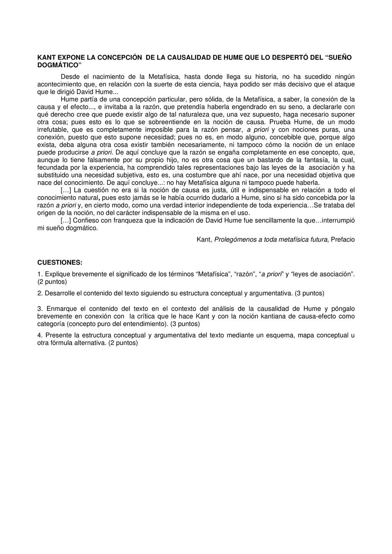 KANT EXPONE LA CONCEPCIÓN DE LA CAUSALIDAD DE H...