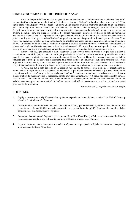KANT: LA EXISTENCIA DE JUICIOS SINTÉTICOS A PRI...