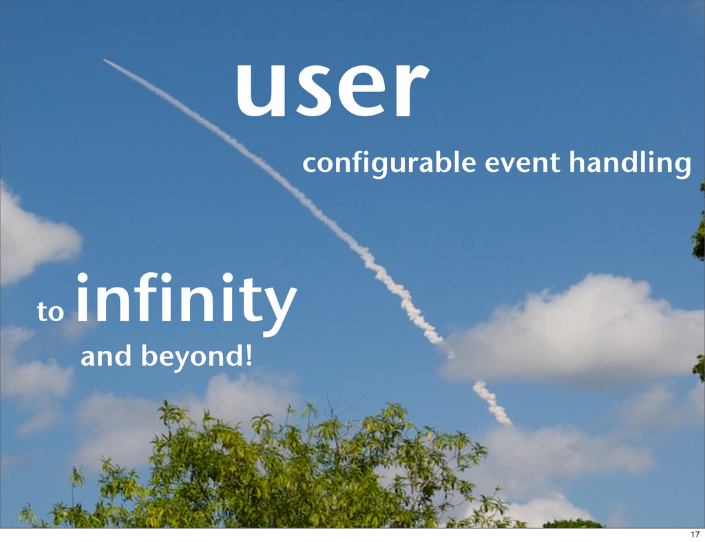 configurable event handling user to infinity an...
