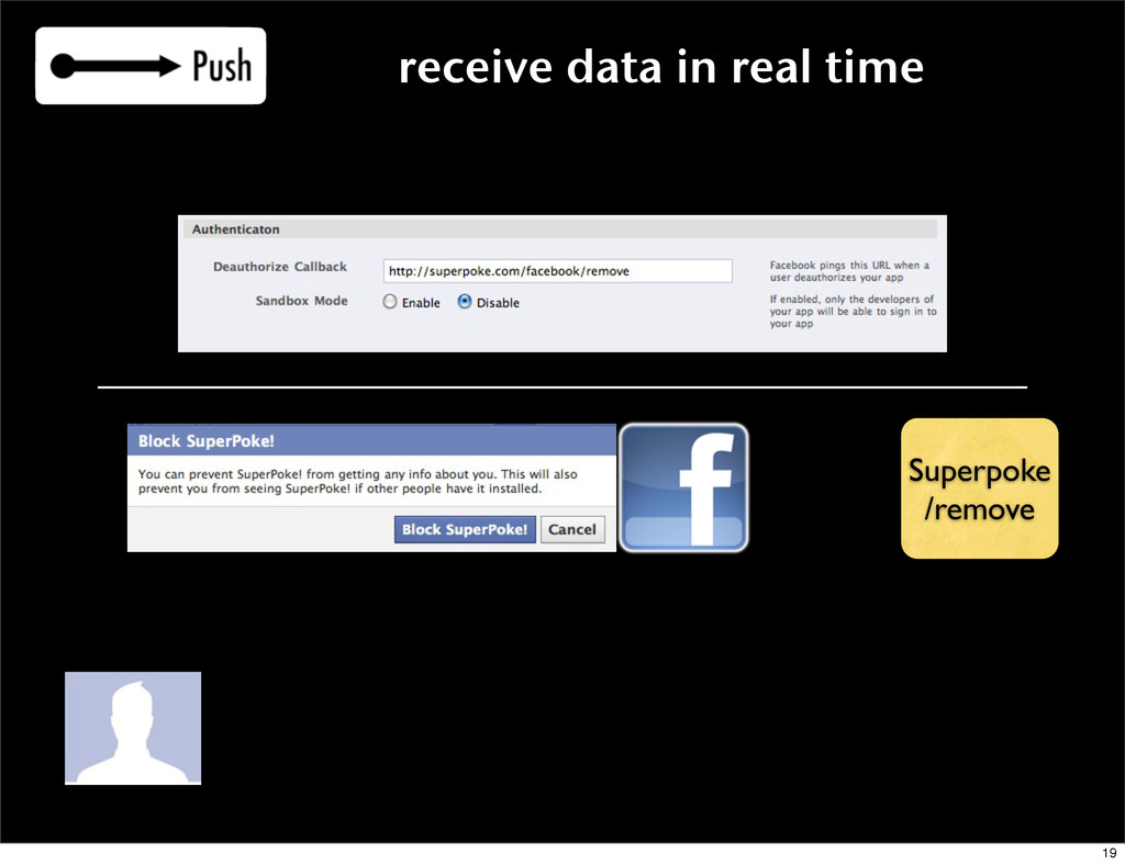 receive data in real time Superpoke /remove 19