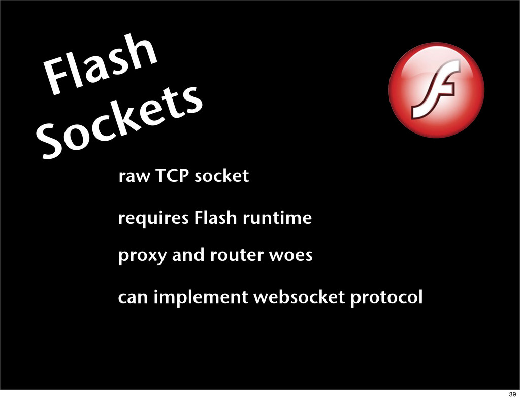 Flash Sockets raw TCP socket requires Flash run...