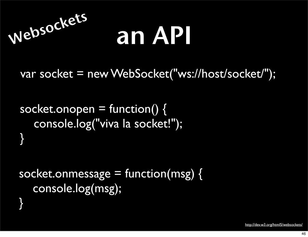 an API http://dev.w3.org/html5/websockets/ var ...