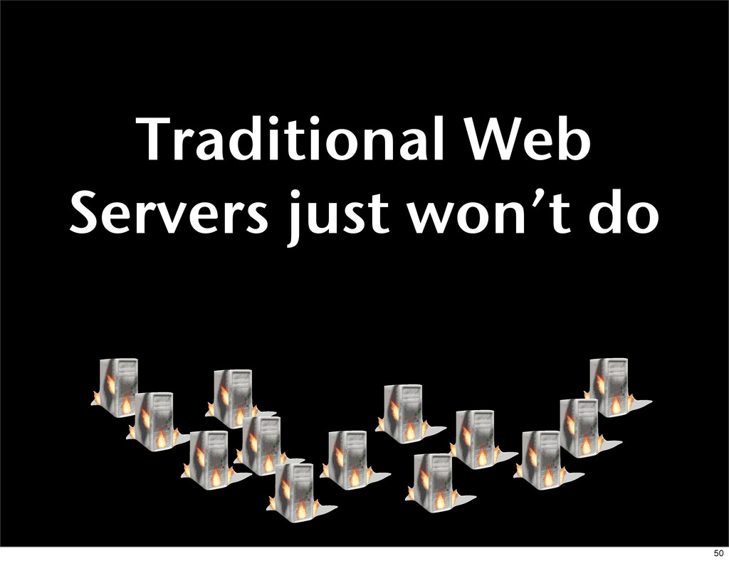 Traditional Web Servers just won't do 50