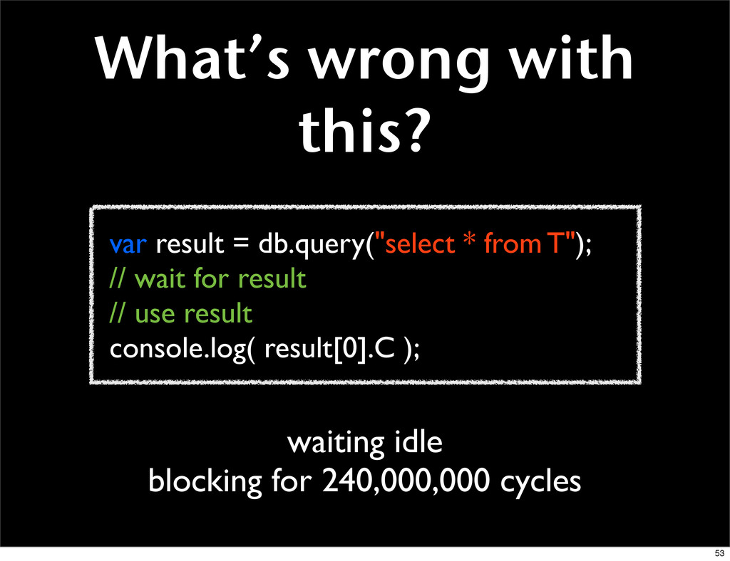 """var result = db.query(""""select * from T""""); // wa..."""