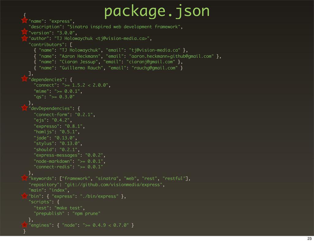 """package.json { """"name"""": """"express"""", """"description""""..."""