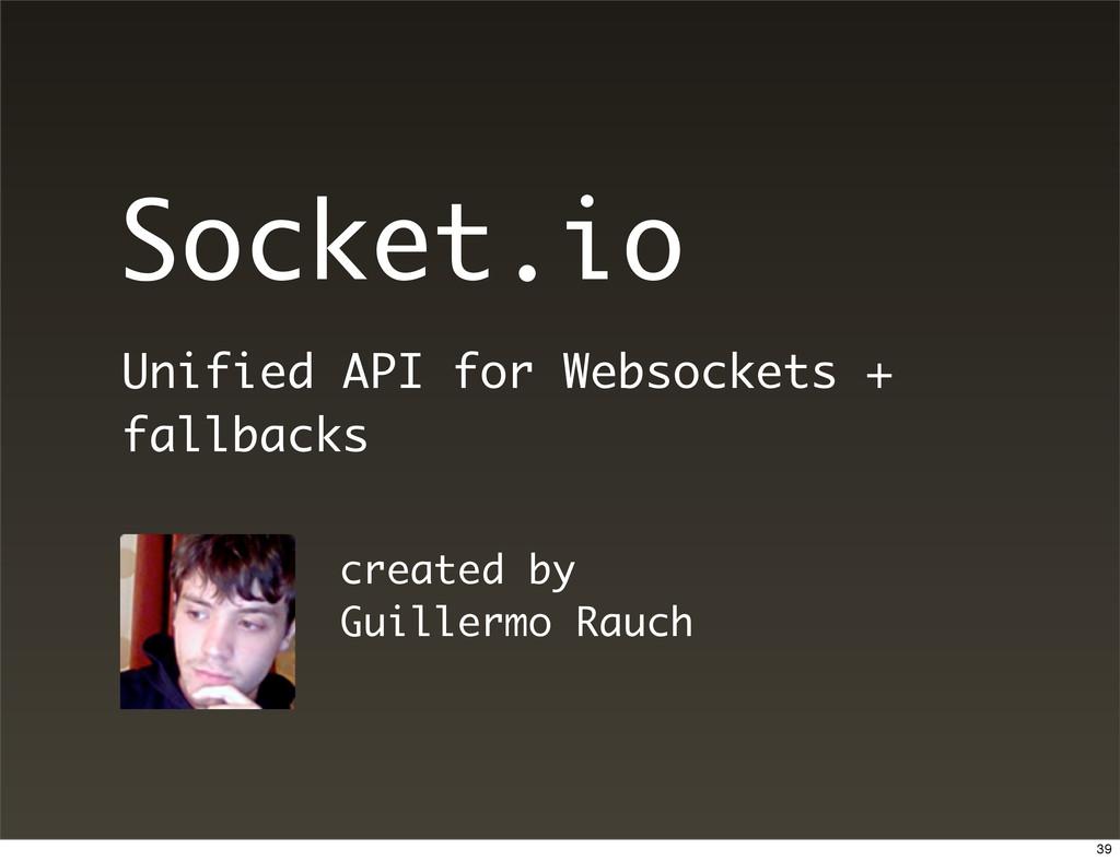 Socket.io Unified API for Websockets + fallback...