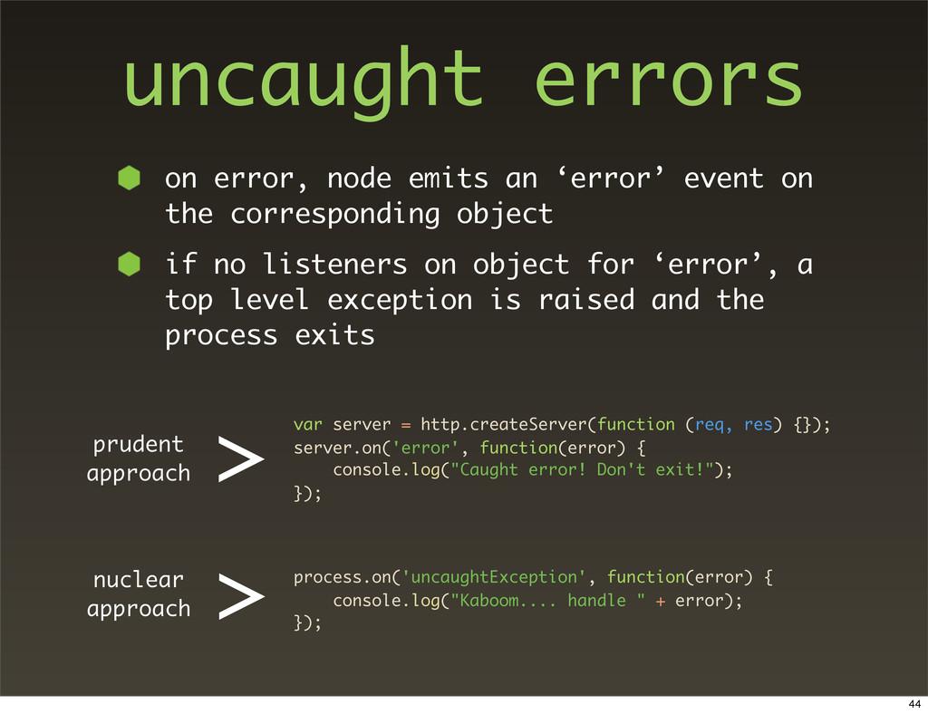 uncaught errors on error, node emits an 'error'...