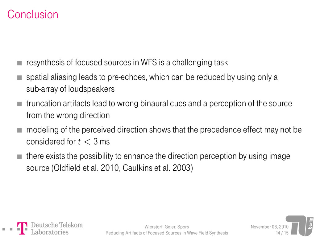 Conclusion resynthesis of focused sources in WF...