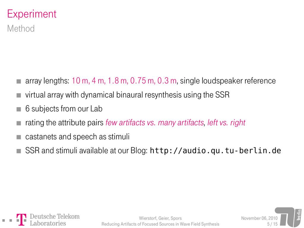 Experiment Method array lengths: 10 m, 4 m, 1.8...