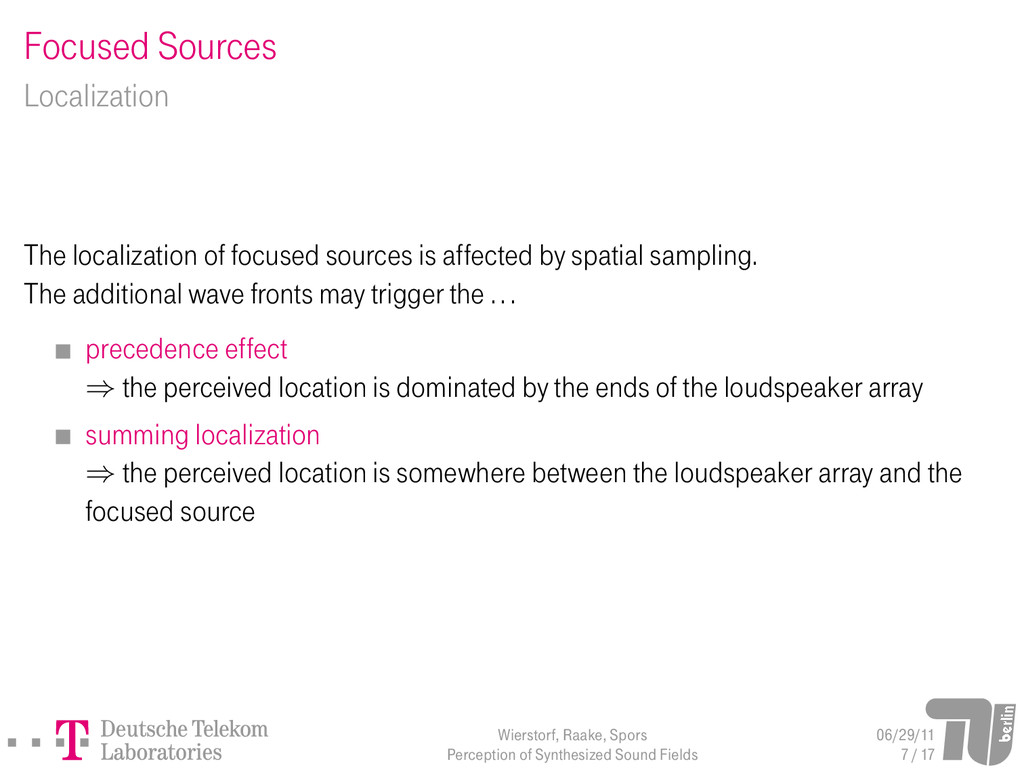 Focused Sources Localization The localization o...