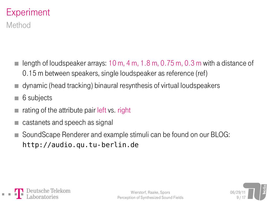 Experiment Method length of loudspeaker arrays:...