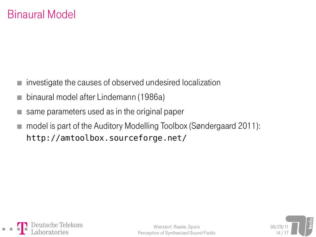Binaural Model investigate the causes of observ...