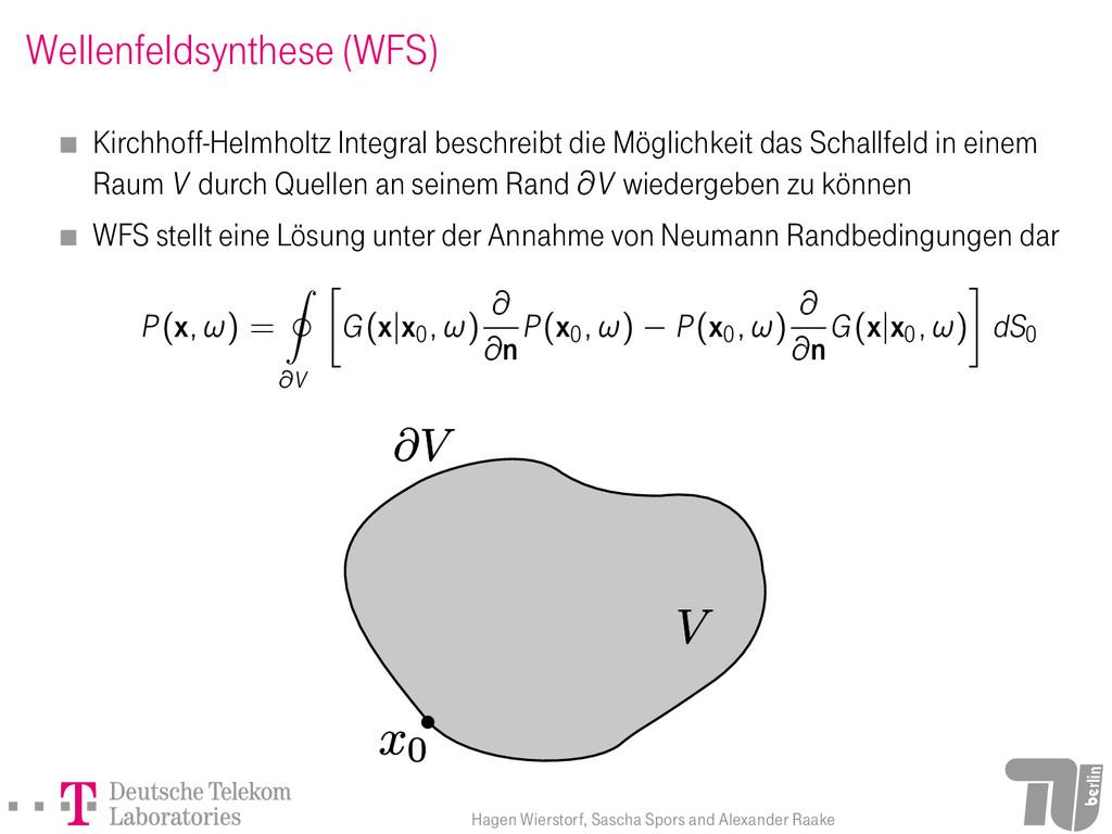 Wellenfeldsynthese (WFS) Kirchhoff-Helmholtz In...