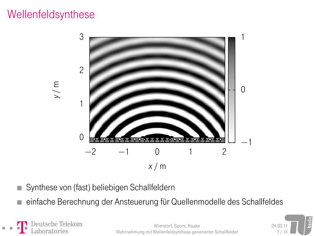 Wellenfeldsynthese Synthese von (fast) beliebig...