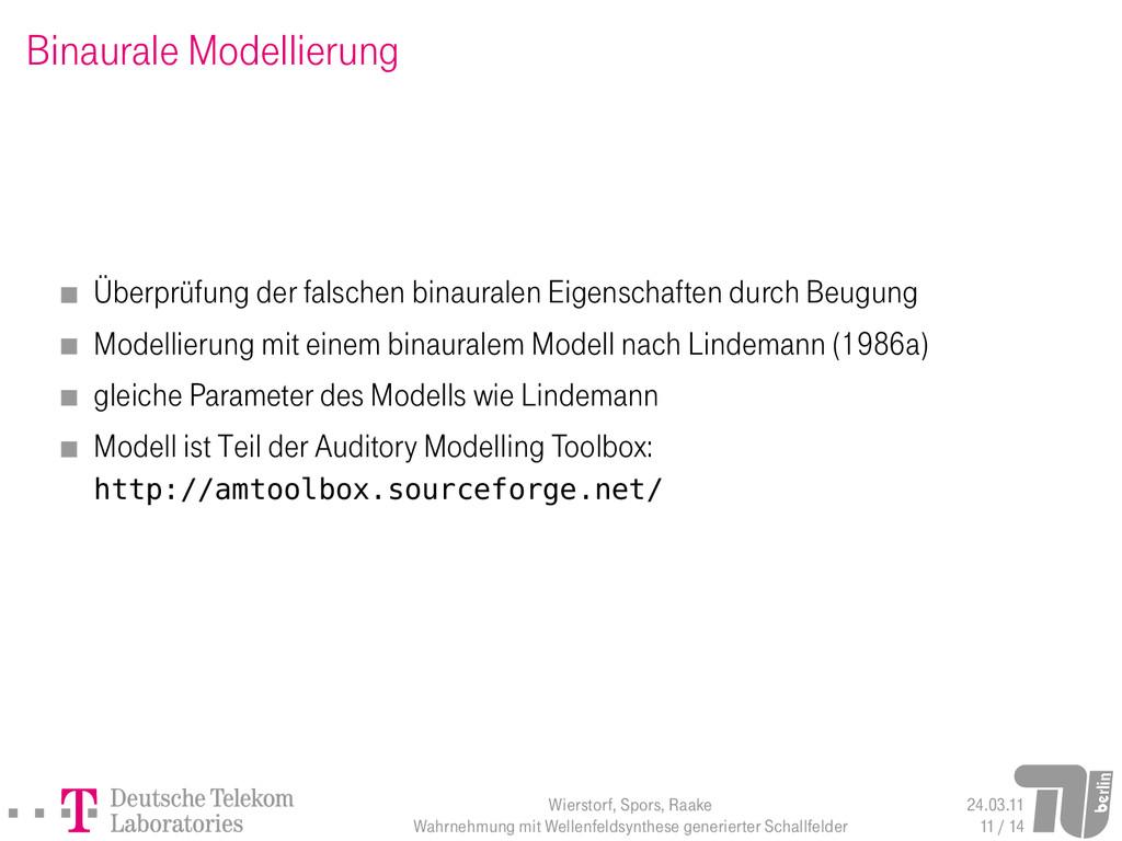 Binaurale Modellierung Überprüfung der falschen...