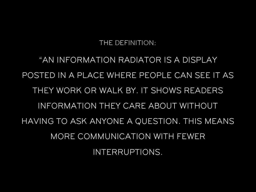 """THE DEFINITION: """"AN INFORMATION RADIATOR IS A D..."""
