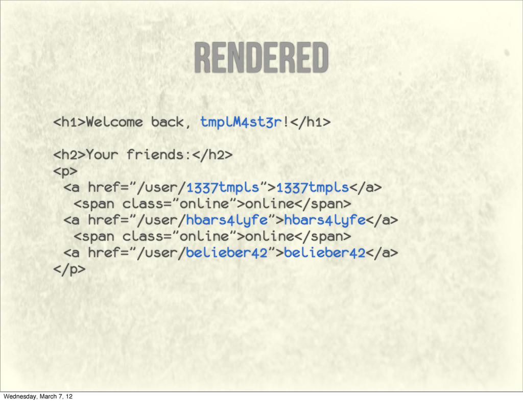 rendered <h1>Welcome back, tmplM4st3r!</h1> <h2...