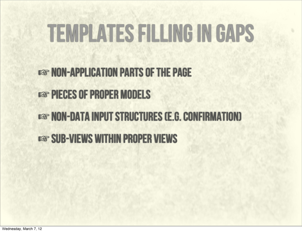 templates filling in gaps ☞non-application part...