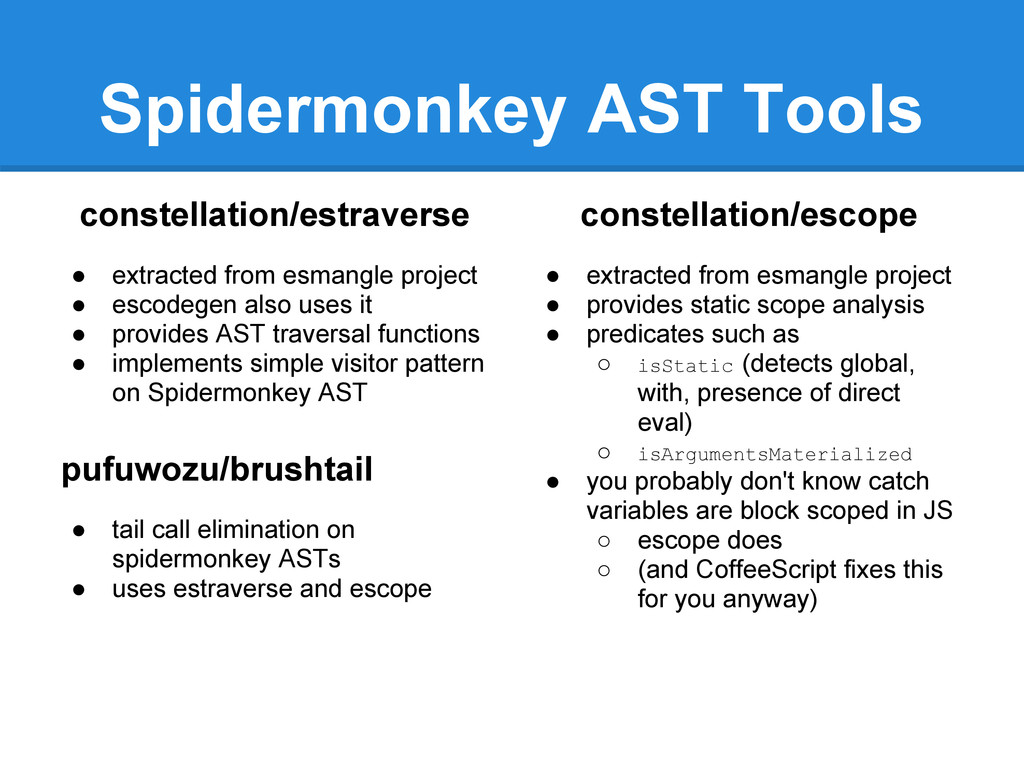 Spidermonkey AST Tools constellation/estraverse...