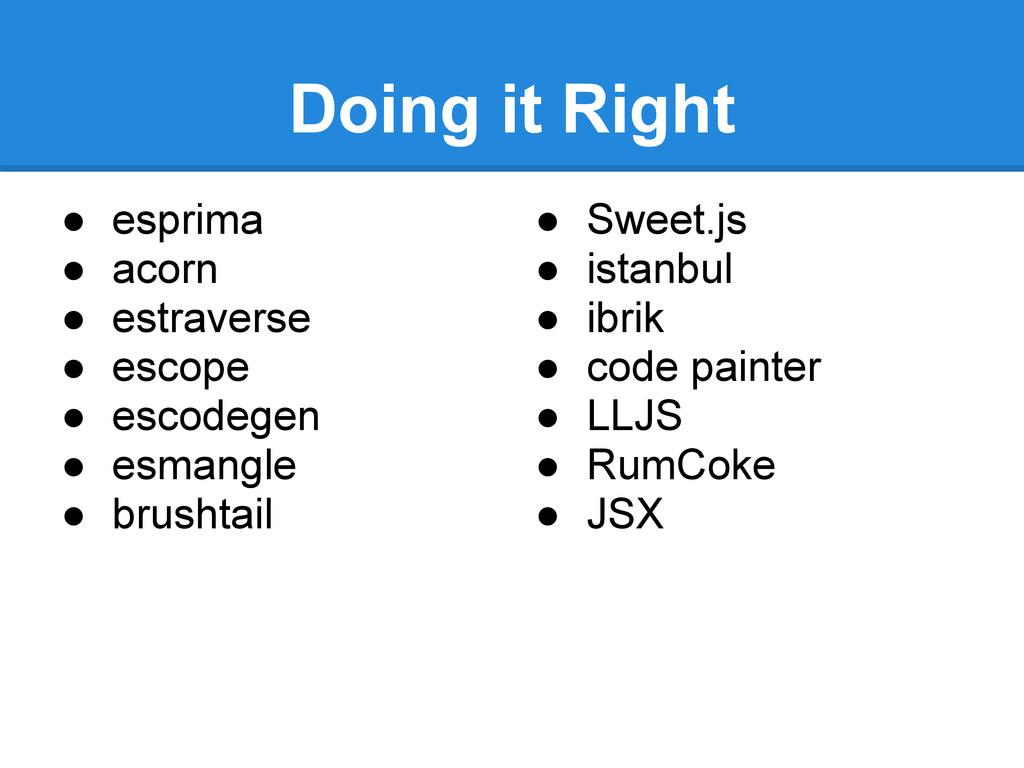 Doing it Right ● esprima ● acorn ● estraverse ●...
