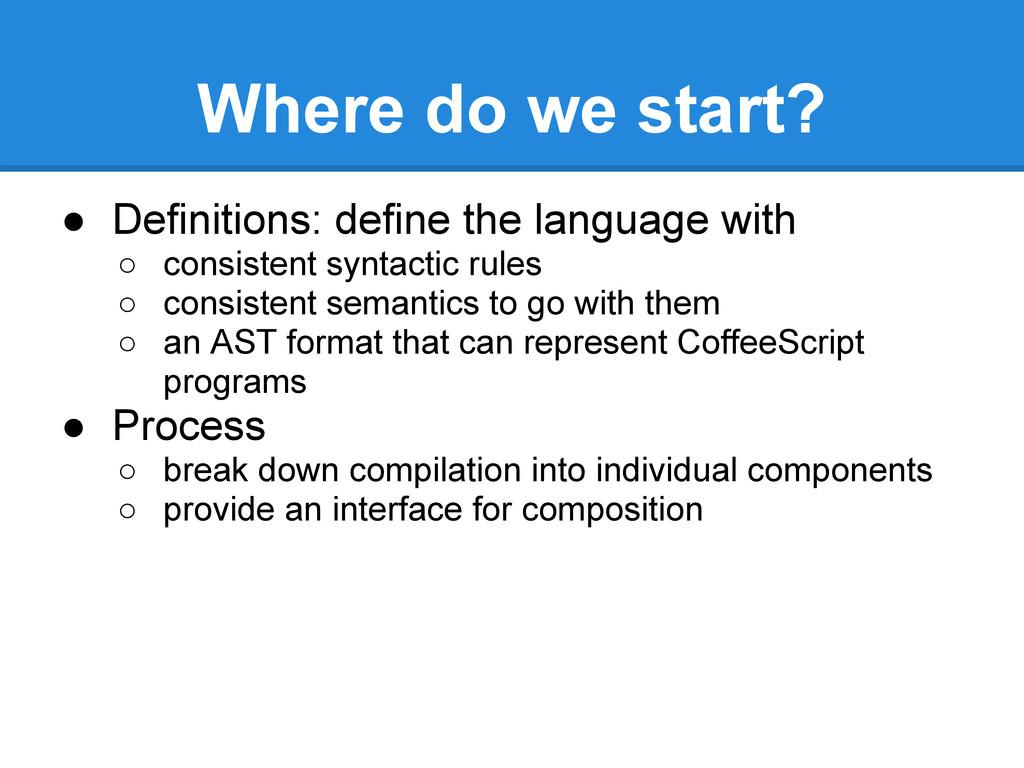 Where do we start? ● Definitions: define the la...