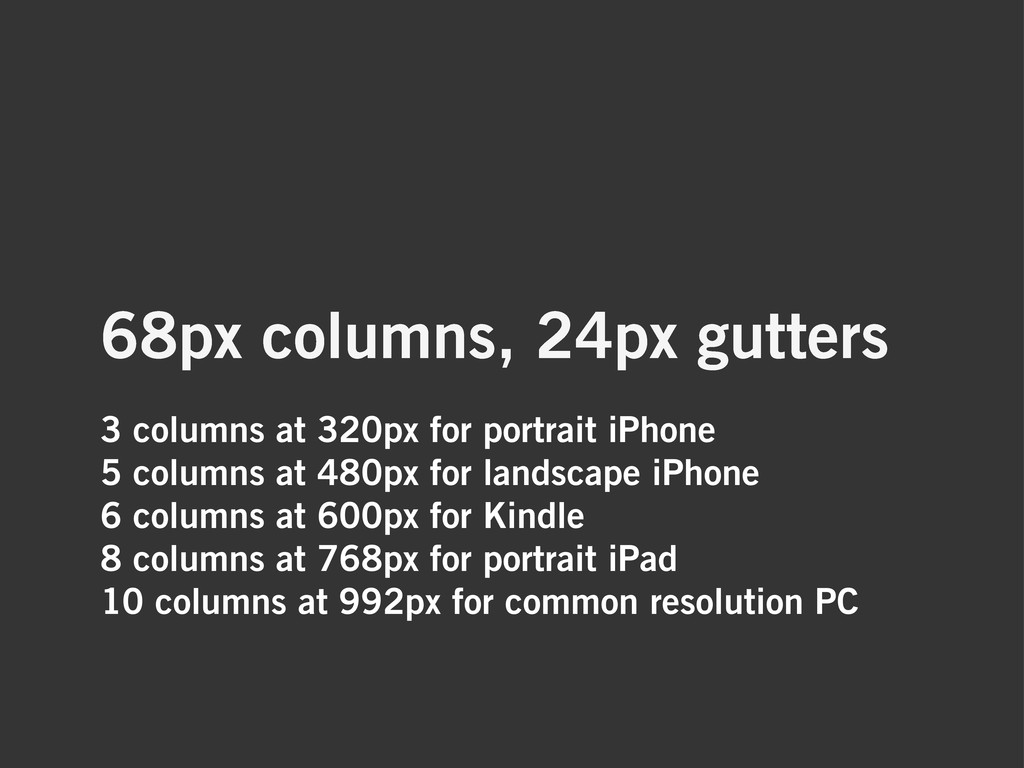 3 columns at 320px for portrait iPhone 5 column...