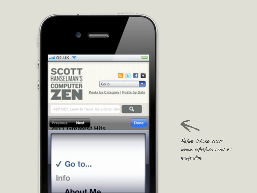 Native iPhone select menu interface used as nav...