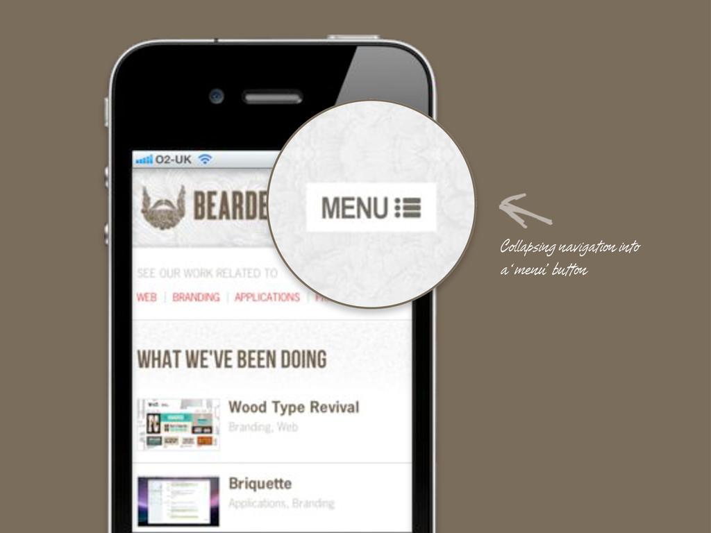 Collapsing navigation into a 'menu' button
