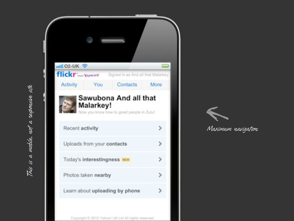 This is a mobile, not a responsive site Maximum...