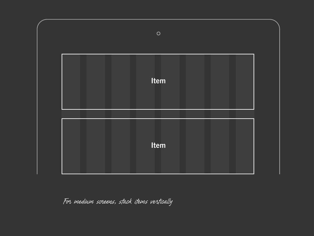 Item Item For medium screens, stack items verti...