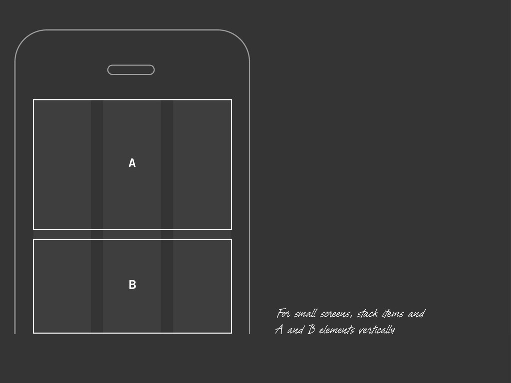 A B For small screens, stack items and A and B ...
